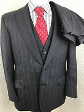 Paul Stuart Gray Striped 2 Button 3 Piece Suit 41R 37 X 24.25 Flat Front