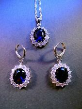 Princess Kate Blue Crystal and 925 SILVER Necklace and Earring set = UK SELLER =