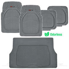MotorTrend Deep Dish Car Rubber Floor Mats & Cargo Set- Gray Heavy Duty BPA Free
