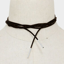 "Choker Necklace Long Faux Suede Wrap Around Metal Tip BLACK SILVER Trendy 74""L"