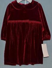 Infant Girls Red Long-Sleeved Knit Velvet Dress by Ralph Lauren Size 12 Months
