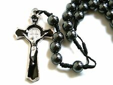 Rosary - hematite Beads Rosary Prayer Necklace - black hematite necklace PH20-17