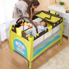 New Green Baby Crib Playpen Playard Pack Travel Infant Bassinet Bed Foldabl