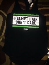 Victorias Secret Pink Helmet Hair Don't Care Racerback Tank Top Shirt Pelotonia