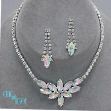 AURORA BOREALIS CRYSTAL PROM WEDDING FORMAL NECKLACE JEWELRY SET CHIC & TRENDY