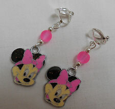 Lovely handmade silver plated clip on earrings Disney Minnie Mouse pale pink