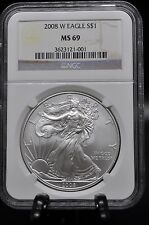 2008 W - MS69 NGC- AMERICAN SILVER EAGLE -  (463) BURNISHED WITH MINT MARK