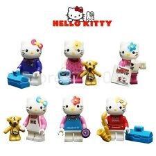 Hello Kitty Cartoon 6 Action Minifigures Blocks Building Toy For Kids Gift