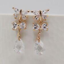 Cute Butterfly Bow Crystal Cubic Zircon Water-drop 18K Gold Plated Stud Earrings