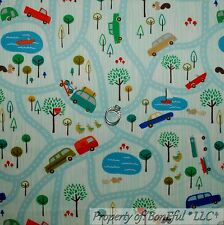 BonEful FABRIC FQ Cotton Flannel Quilt Blue Boy Truck Car Road Map Camp Boat Dot