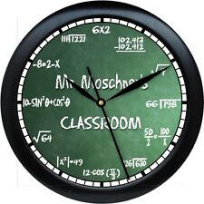"Math Equation Personalized10"" Wall Clock Teacher Gift Numbers Green Chalkbrd"