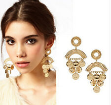 Gold Plated Round Flat Coin Shape Charm Tassel Chandelier Stud Dangle Earring