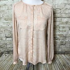 ANN TAYLOR Loft Pink Daisy Printed Blouse Size Small Covered Button Down Top