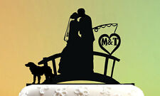 Wedding Cake Topper with a dog - cake topper Fishing Couple - Groom and Bride