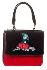 Banned Cherry Handbag Shiny Varnished Rockabilly Clutch Bag Red Christmas Gift