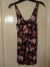 Lovely Black Floral Long Camisole Size 8