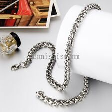 Durable 8mm Wide Wheat Chain Link Stainless Steel Necklace for Men 23 Inch