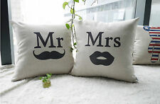 Linen Cotton Rustic Modern Cushion Cover Gift Wedding Engagement Mr Mrs Vintage