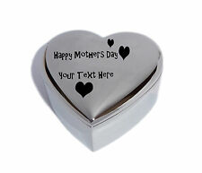 Happy Mothers Day Heart Trinket Jewel Box with Butterflies - Engraved Free P&P