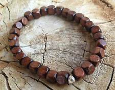 Silver Healing Stretch Wood bracelet Mala Men Woman Amulet