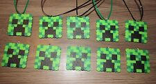 MINECRAFT Inspired Birthday Party Favors Lot of 10 Necklaces Beads Creeper
