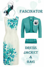 20 Jacques Vert Mother of the Bride Ivory Turquoise Dress Jacket Fascinator Bag