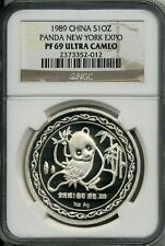 1989 PROOF 1 oz  SILVER CHINA PANDA NGC PF 69 UCAM PEOPLE'S REPUBLIC NEW YORK