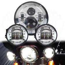 7'' LED Headlight + 2x 4.5'' Chrome LED Fog Passing Light for Harley Davidson