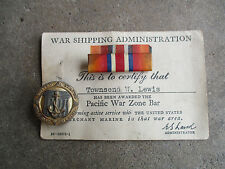 WWII US Pacific War Zone sterling named Merchant Marine award ribbon pin