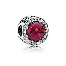 New Authentic Pandora Charm Bead Radiant Hearts Cerise Crystal&Clear 791725NCC