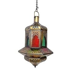 Moroccan Hanging Pendant Lantern Carved Brass Finish & Stained Glass Lamp