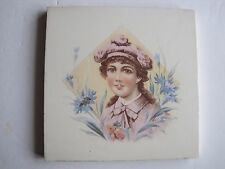 ANTIQUE VICTORIAN COLOUR TRANSFER TILE - VICTORIAN GIRL - c1890