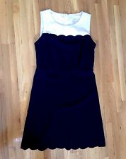 LOFT Black and White Scalloped Dress in Size 00P