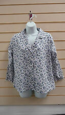 LADIES WHITE & MULTI  FLORAL COLLAR  PYJAMA SHIRT 100% COTTON SIZE 18 BNWT