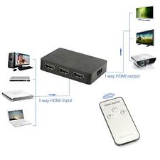 3 Port HDMI Switch Switcher Selector Splitter Hub Box Remote 1080P For HDTV PS3