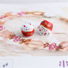 Luck Welcoming Lucky Cat Jingle Bells Beads Charms Pet Pendants Christmas  5pcs