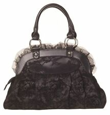 BANNED REINVENTION HANDBAG GOTHIC LADIES BLACK BOW SKULL LACE IVY VAMPIRE