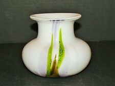 Holmegaard Per Lutken Signed Art Glass Studio Vase Milky Multi Colored