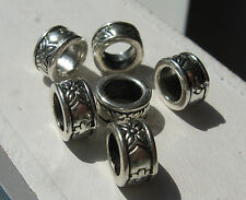 Set of 6 Tibetan silver mini skinny dreadlock ring beads 8mm x 4.3mm, 5mm hole