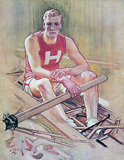 "JC LEYENDECKER, Rowing, Kayak, 14""x11"" Art Print, Male college athlete, Harvard"