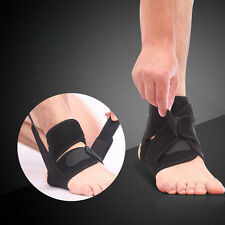 Black Adjustable Ankle Foot Support Elastic Brace Guard Football Basketball