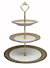 Royal Porcelain 3-Tier Round Gold-plated Cake and Cupcake Stand, White Dessert