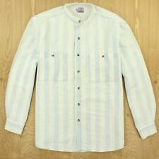 vtg 90's CACTUS band collar shirt LARGE super light wash broadstripe vaporwave
