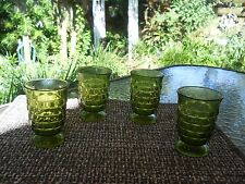 Indiana Colony Glass 4 Green Whitehall  Footed Tumblers Juice Glasses