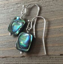 Min Favorit Abalone Shell Rectangle & Silver Pl Artisan Earrings NEW FALL 2016!