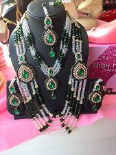New Bollywood Indian African Necklace Earrings Tikka Jewellery Set