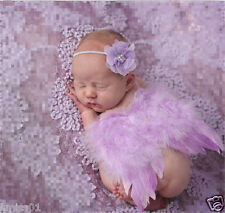 Newborn Photography Girls Flower Headband Feather Angel Wings Baby Photo Props