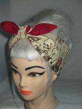 Head Scarf Skulls Roses Hair wrap wide Bandana Rockabilly PinUp Headband skull