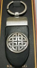 Lee River Black Leather Key Ring with Pewter Celtic Knot Riveted in Place