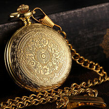 KS Antique Gold Case Men's Pendant FOB Quartz Vintage Pocket Watch Chain Box